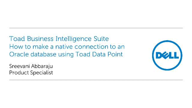 How to make a native connection to an Oracle database using Toad Data Point