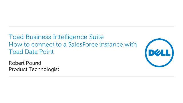 How to connect to a Salesforce instance with Toad Data Point