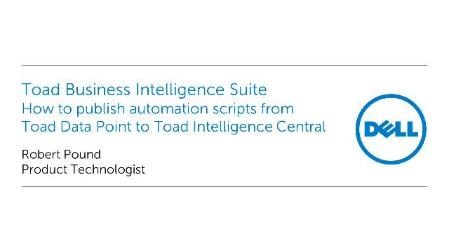 How to publish automation scripts from Toad Data Point to Toad Intelligence Central server