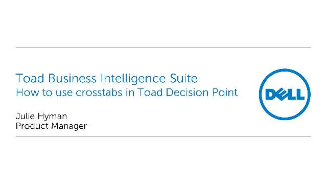 How to use crosstabs in Toad Decision Point