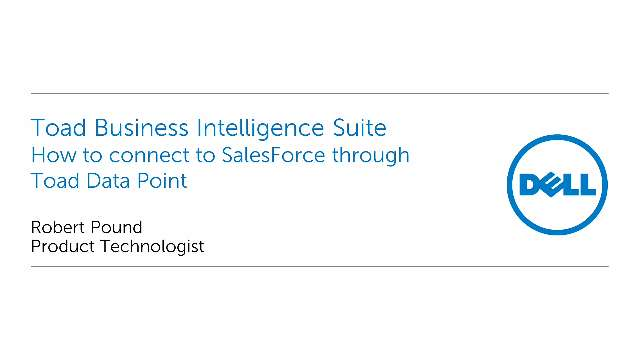 How to connect to SalesForce through Toad Data Point