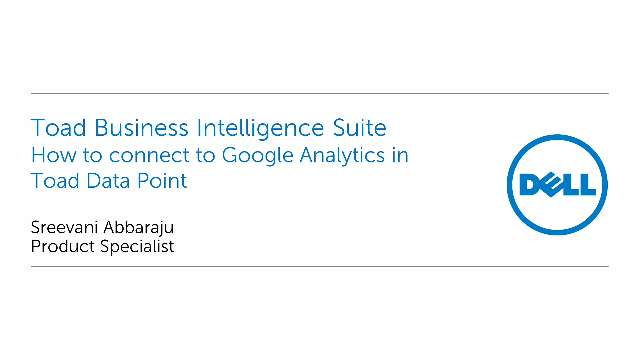How to connect to Google Analytics in Toad Data Point