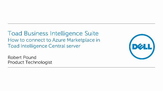 How to connect to Azure Marketplace in Toad Intelligence Central server