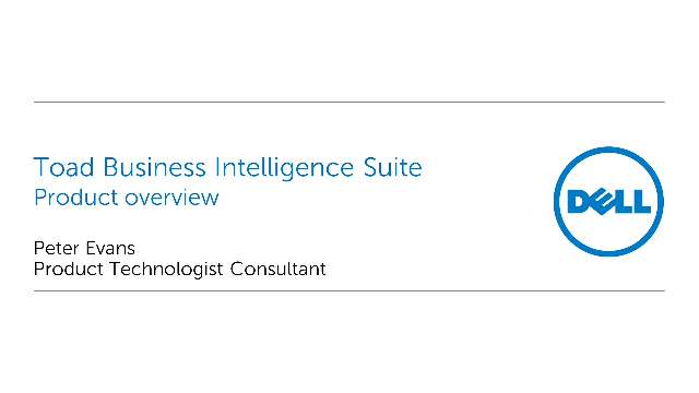 Product overview of Toad Business Intelligence Suite