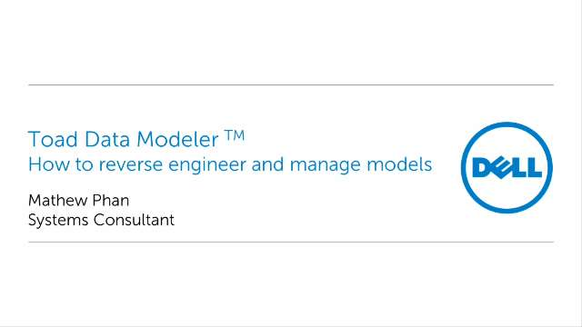 How to reverse engineer and manage models in Toad Data Modeler