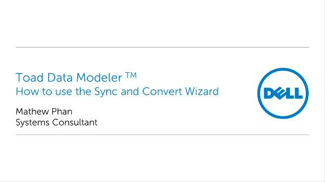 How to use the Sync and Convert Wizard in Toad Data Modeler