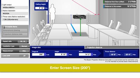 Epson Throw Distance Calculator for Standard Projectors