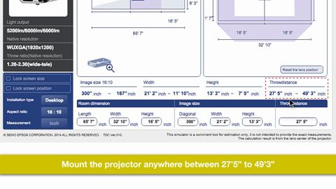 Epson Throw Distance Calculator for Large Venue projectors