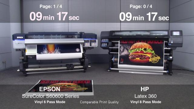 SureColor S60600 vs HP Latex 360 - Adhesive Vinyl Productivity
