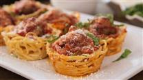 Spaghetti and Meatballs Muffin Bites