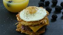 Latkes Breakfast Sandwiches w/ Blackberry-Yogurt